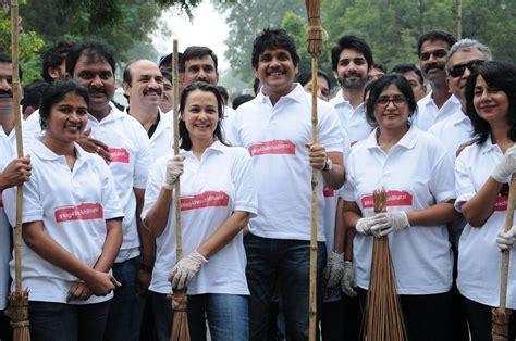 actor nagarjuna family photo nagarjuna akkineni family joins swachh bharat photos