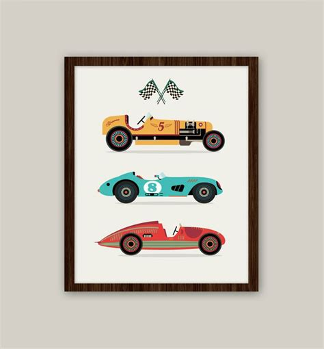 Racing Cars Transportation Nursery Art 11x14 Print Transportation Nursery Decor