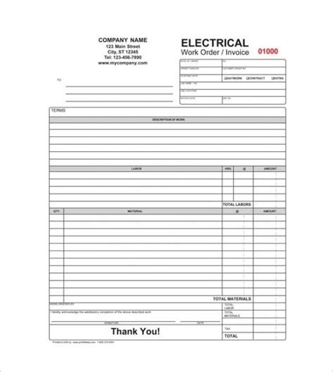 electrical contractor invoice template invoice template 2017