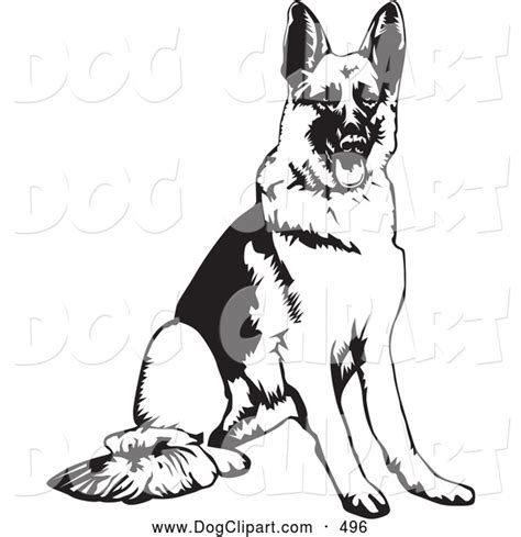 clip art of a cute obedient german shepherd dog seated and
