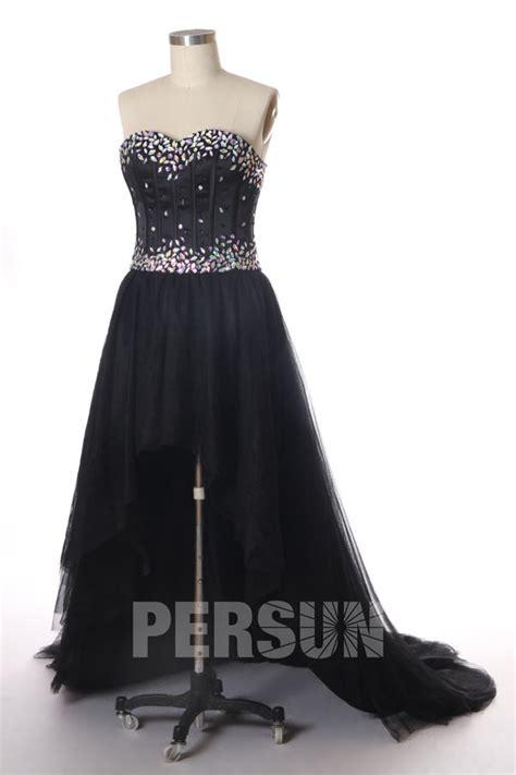 Robe De Bal Noir Longue - robe bustier d 233 collet 233 en cœur ligne a courte devant