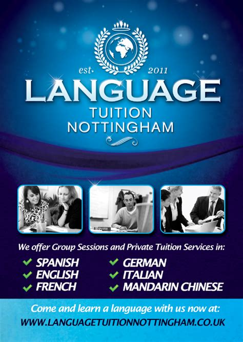flyer design nottingham language tuition nottingham flyer front