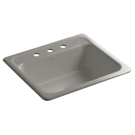 Shop Kohler Mayfield Cashmere Single Basin Drop In Kitchen Cast Iron Kitchen Sinks