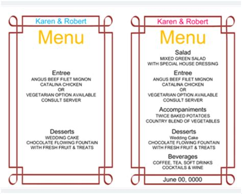 menu card template for word weekly planner template 7 free schedule planners