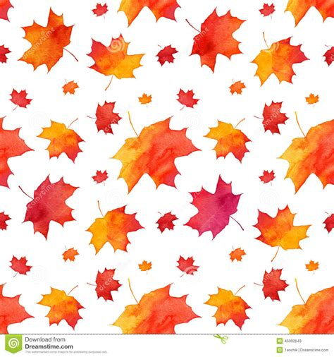 watercolor seamless pattern with pink and orange autumn watercolor painted red autumn maple leaves pattern stock