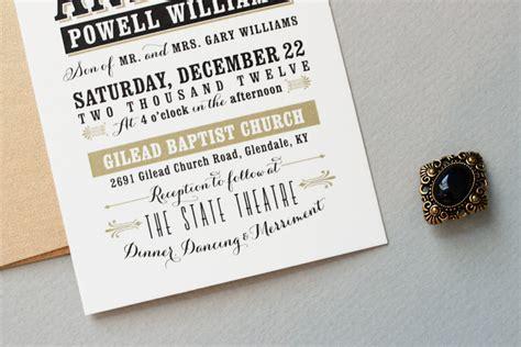 typography wedding invitation andrew s vintage inspired typography wedding invitations