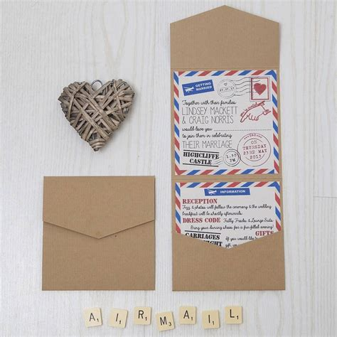 Pocketfold Wedding Invitations by Pocketfold Retro Airmail Wedding Invitation By Lovely