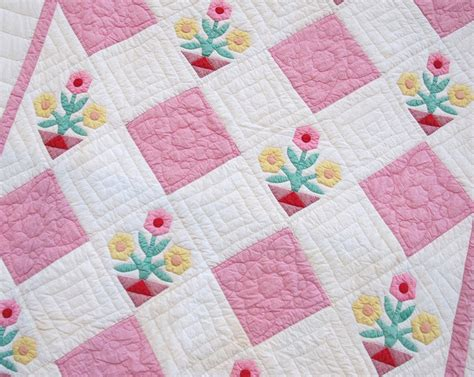 Flower Patchwork Quilt - handmade vintage quilts pink cotton patchwork flower pot