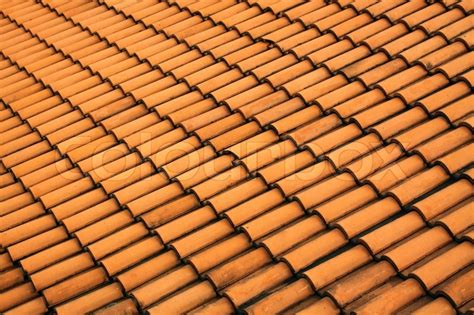 repeating pattern photography a red tile roof with repeating patterns stock photo