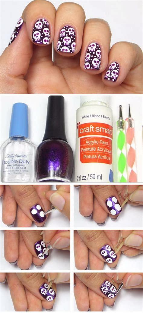 halloween nail art tutorial skulls diy halloween nail art designs with step by step tutorials