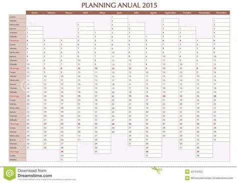 Calendrier 2016 Avec Numéro De Semaine Excel Espagnol Annuel Du Planificateur 2015 Illustration De