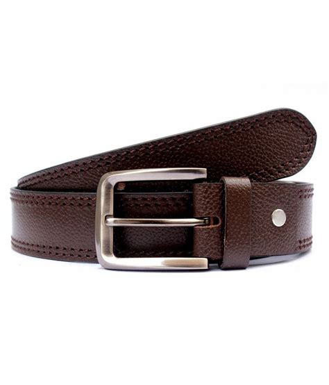 tops brown coloured side contrast stitched leather belt
