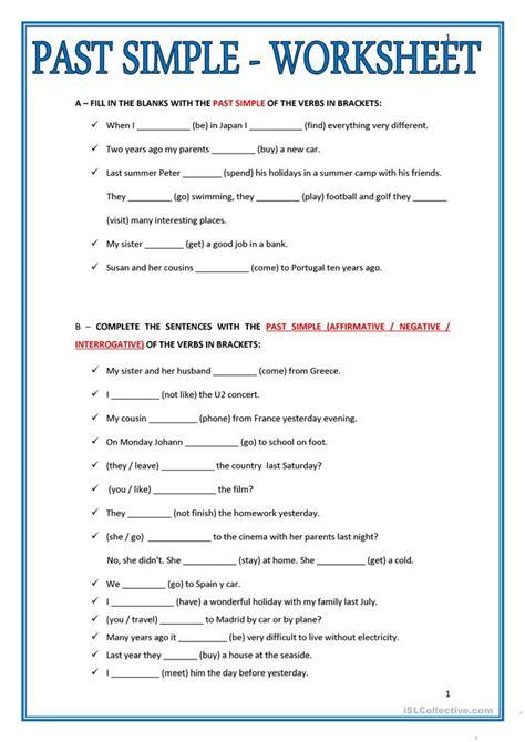 Past Tense Verbs Worksheets by Past Participle Worksheets Esl 25 Free Esl Past