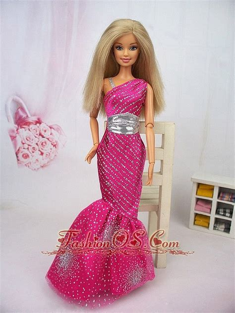 design clothes for barbie dolls www fashionos com luxurious mermaid asymmetrical hot pink