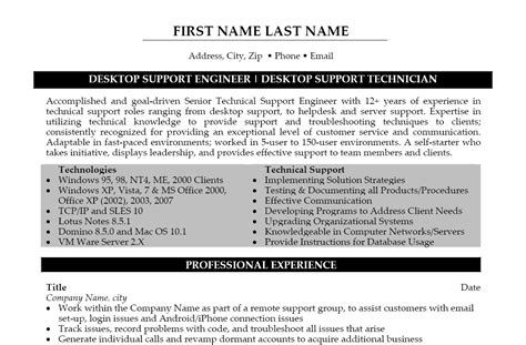 Resume Sle For It Desktop Support Sle Resume For Experienced Desktop Support Engineer 28