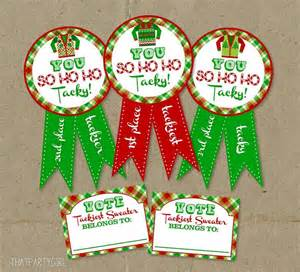 ugly sweater party awards and voting ballots diy instant