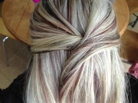 platinum blonde hair with black lowlights heavy bright platinum blonde highlights with thin dark