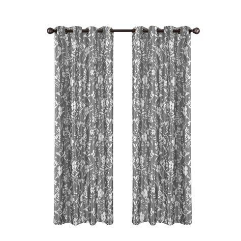 gray printed curtains window elements florabotanica printed faux silk gray