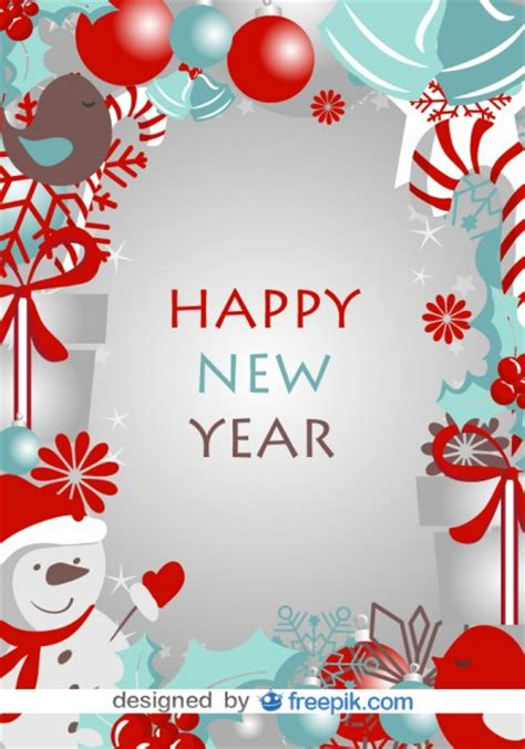 how to make a happy new year card happy new year card with winter symbols vector free