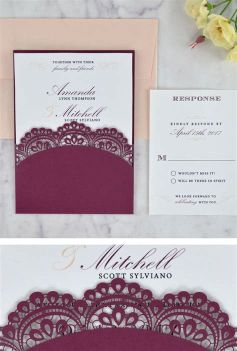 panel pocket wedding invitations lace doily laser wedding invitation the weddi and modern scrip yourweek