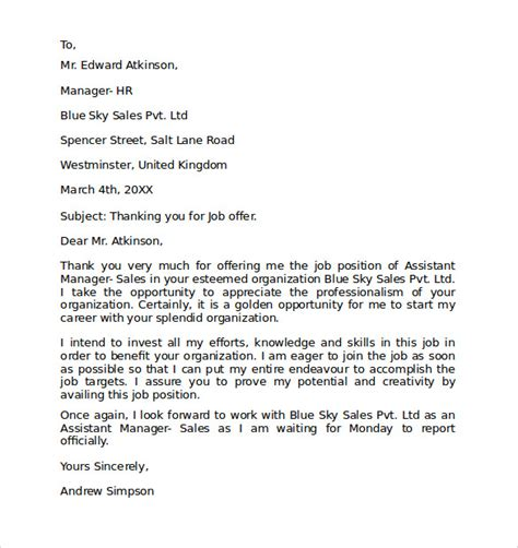 Formal Letter Format Thank You Formal Letter Format 9 Free Documents In Word