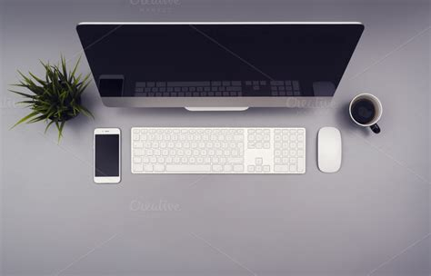 Office Desk Top View Top View Office Desk Header Technology Photos On Creative Market