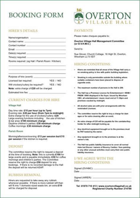 Design A Room overton village hall venue booking form