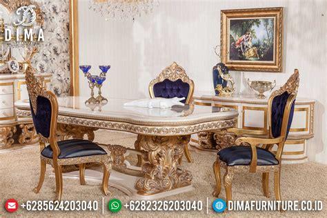 Meja Jepara mebel jepara terbaru meja makan mewah ukiran klasik cat duco putih emas st 0489 sofa tamu jepara