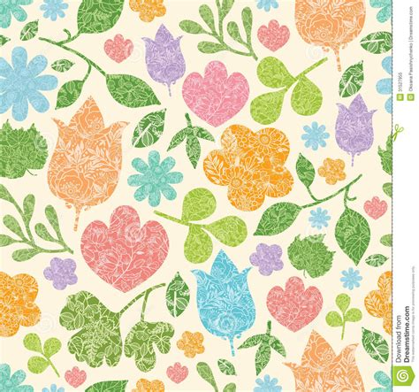 design pattern used in spring textured spring plants seamless pattern background stock