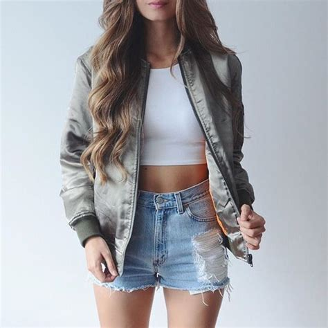 Jaket Dc Army Bb By Gseven Shop s grey bomber jacket white cropped top light blue