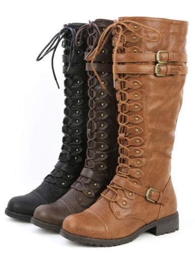 womens knee high lace up buckle fashion combat