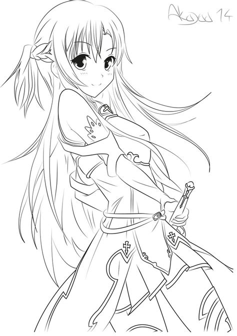 manga coloring pages online asuna yuuki sword art online lineart by akayaa gals