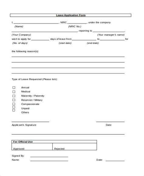 Leave Application Form Template by Sle Leave Application Form 10 Free Documents In Pdf Doc