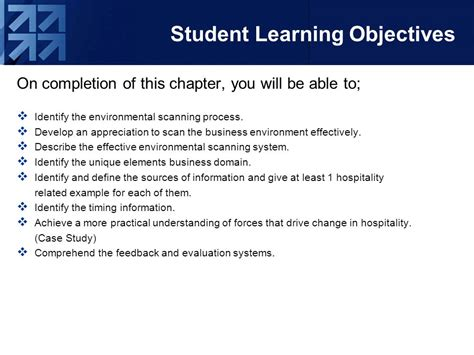 student learning objective template environmental scanning ppt