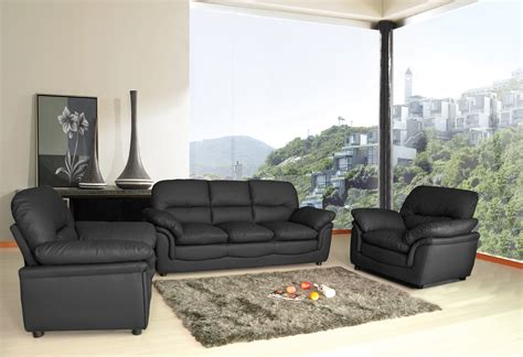 New Modern Verona Bonded Leather Sofa Suite In Black Leather Sofa Suite