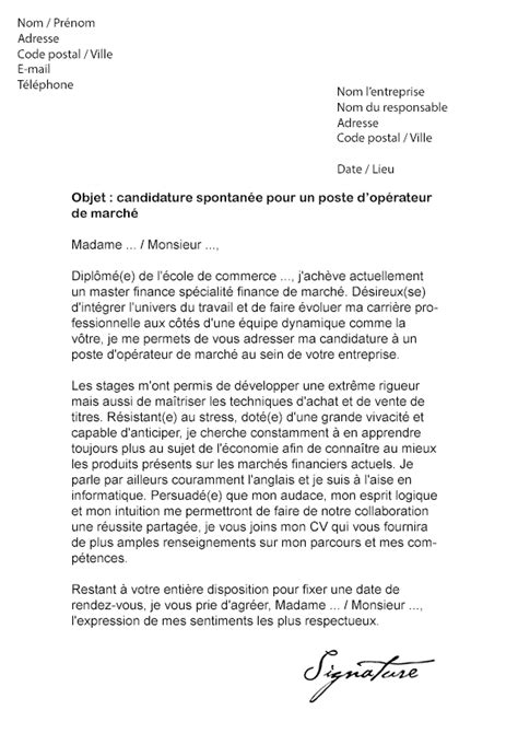 Lettre De Motivation Emploi Banque Finance Lettre De Motivation Op 233 Rateur De March 233 Mod 232 Le De Lettre