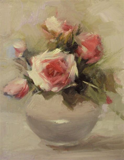 new paintings happy roses in a china vase
