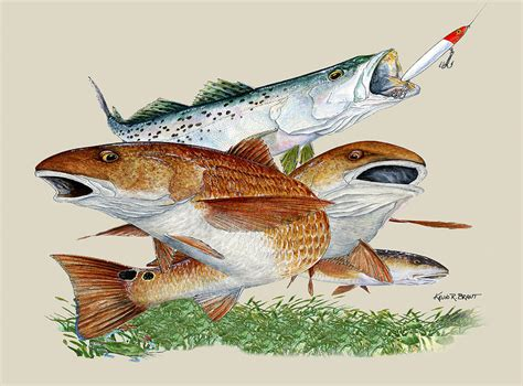 reds and trout painting by kevin brant