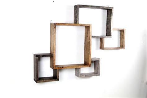 Hanging Wall Shelves Wood Geometric Hanging Wall Shelves Decofurnish