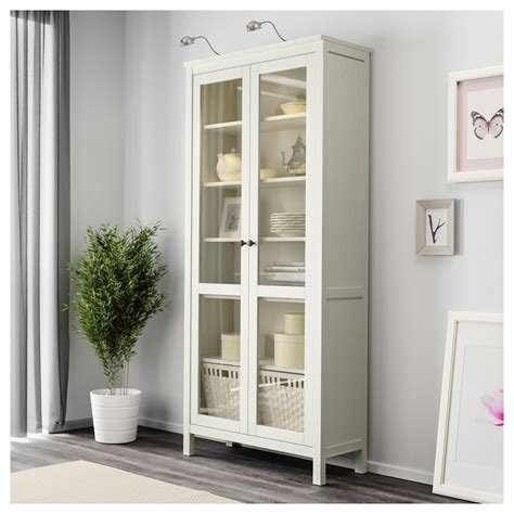 White Storage Cabinet With Glass Doors Hemnes Glass Door Cabinet White Stain 90x197 Cm Ikea