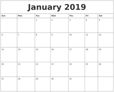 printable calendar january 2019 january 2019 calendar