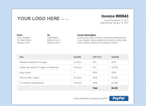Html Invoice Template Free Simple Html Invoice Template Vandelay Design