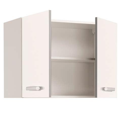 cuisine cach馥 par des portes meuble haut de cuisine contemporain 2 portes 80 cm blanc