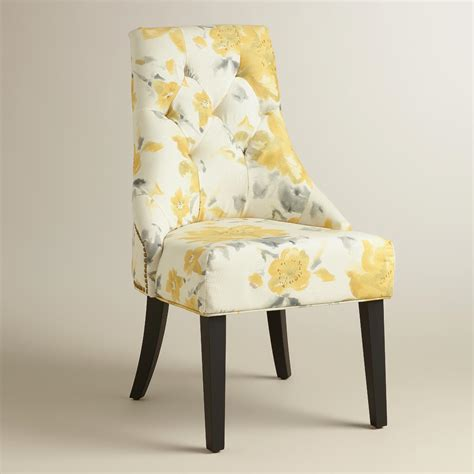 Yellow Upholstered Dining Chairs Yellow Floral Tufted Lydia Dining Chairs Set Of 2 World Market