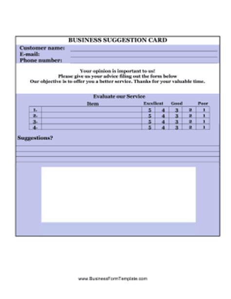 suggestion cards templates business suggestion card template