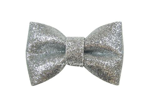 items similar to glitter bow silver glitter bow silver