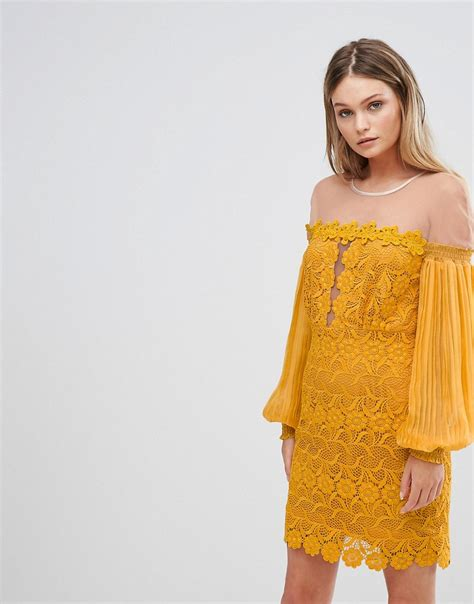 Athens Bell Sleeve Dress From Monsoon by Three Floor Bardot Lace Mini Dress With Bell Sleeves
