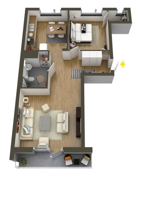 House Layouts by 40 More 1 Bedroom Home Floor Plans