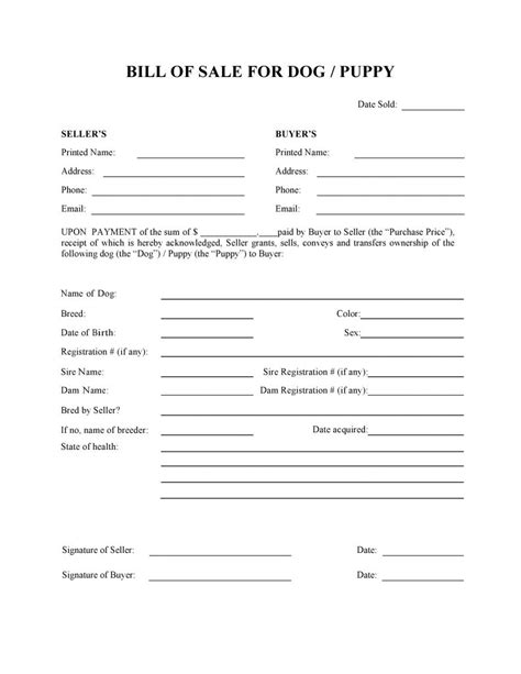 puppy bill of sale free or puppy bill of sale form pdf docx