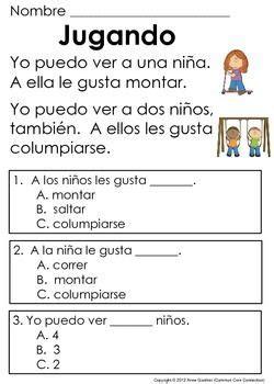 reading comprehension test in spanish spanish reading comprehension passages for beginning